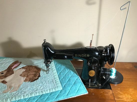 My Singer 201-2 set up for free motion quilting with my homemade thread guide.