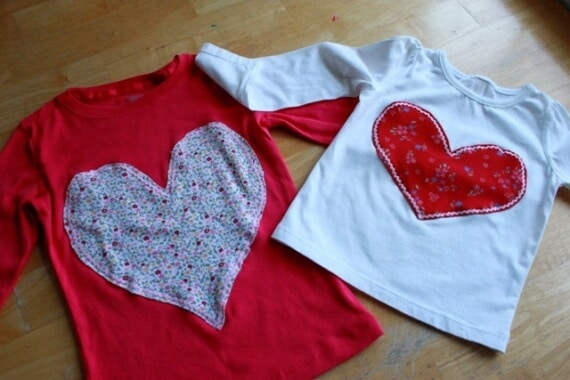 Heart Applique T Shirts For Valentines Day