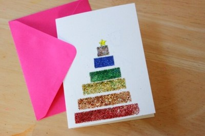DIY Glitter Tape Christmas Cards 40