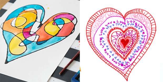 19 valentines day arts and crafts - Faux Stained Glass Window Valentines and Heart Mandalas