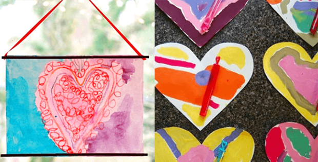 19 valentines day arts and crafts - Heart Melts and Color Mixing Heart Art