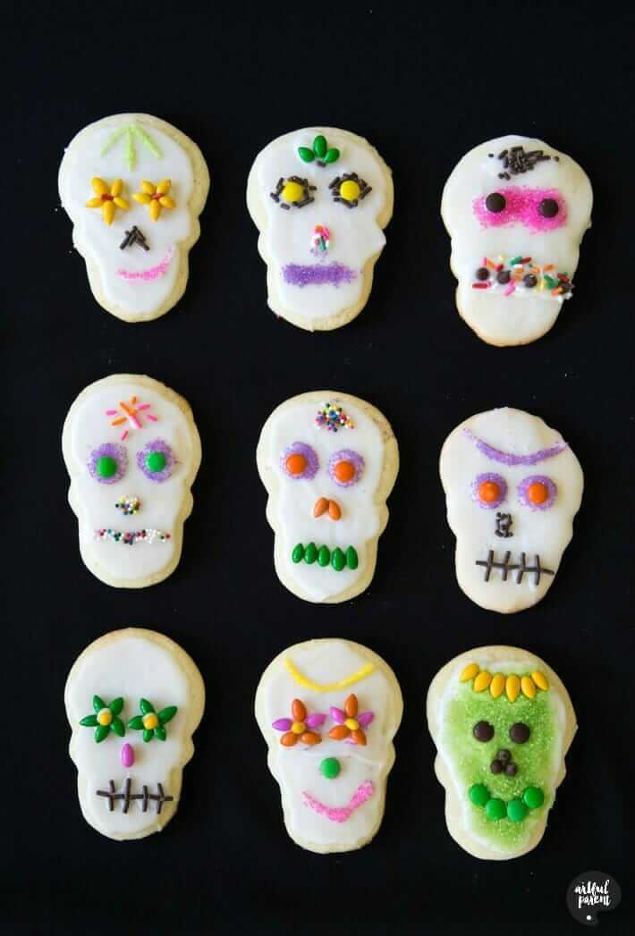 Sugar Skull Cookies The Easy Way With Colorful Candies Fun For Kids