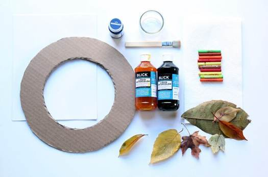 Materials for Fall Leaf Rubbings Wreath project