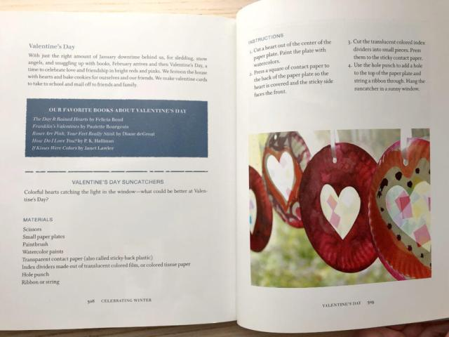 Easy Valentine crafts for kids from The Artful Year book by Jean Van't Hul - showing a two page spread of the Valentine's Day Suncatchers for Kids