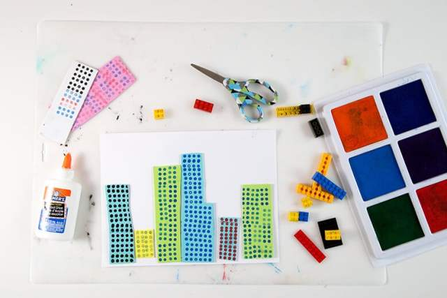 Fun LEGO printed cities made using stamp pads, glues, scissors & LEGOs