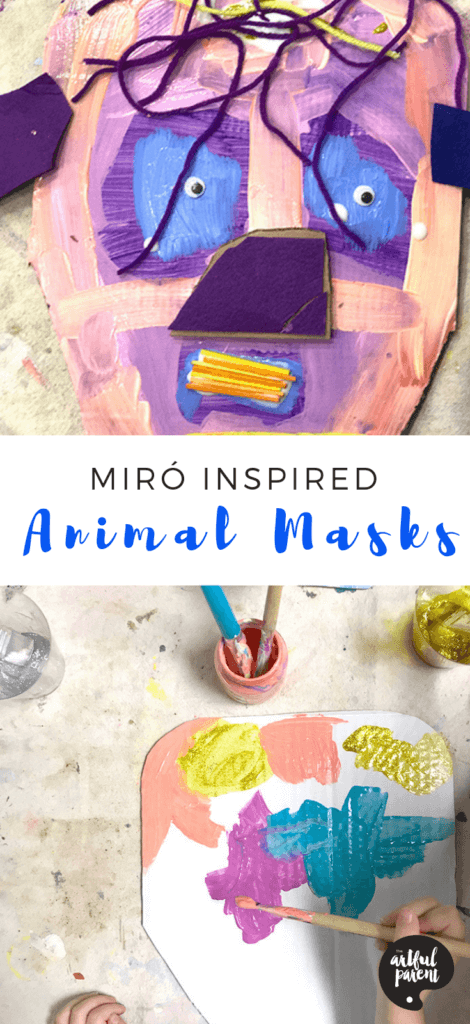 Catalina Gutierrez of Redviolet Studio shares how to create Miró inspired magic animal masks for kids using cardboard and other materials on hand. #kidsart #artsandcrafts #upcycled #kidscrafts #cardboard #recycledcraft #craftsforkids