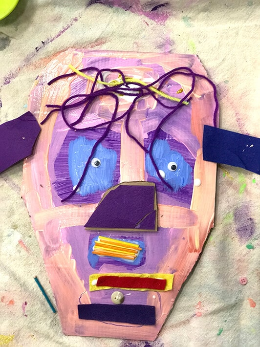 Purple and pink Miró inspired cardboard animal mask