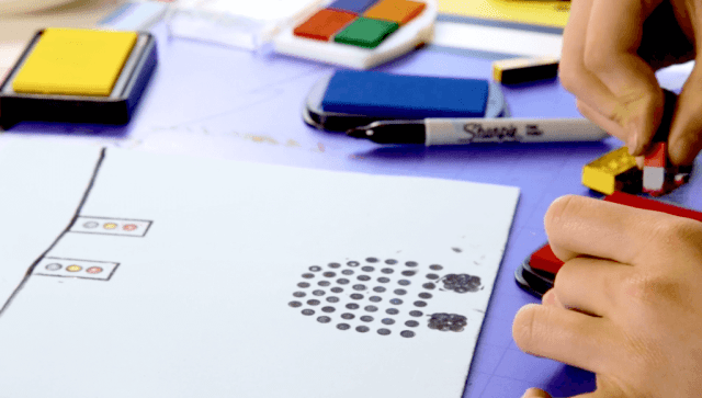 LEGO prints – create a traffic scene with LEGOs + stamp pads