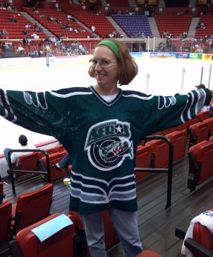 Laura and her Aeros jersey (Photo: Patricia Teter. All Rights Reserved.)