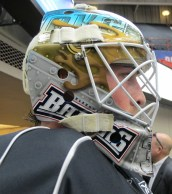 Olivier Roy wearing 2012-13 Mask. Right Side. (Photo: Patricia Teter. All Rights Reserved.)
