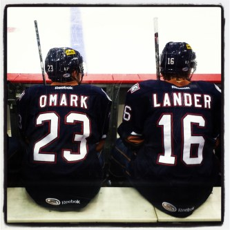Omark and Lander on bench. (Photo: Patricia Teter. All Rights Reserved.)