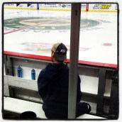 Ewanyk on bench prior to pregame warmups. (Photo: Patricia Teter. All Rights Reserved.)