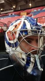 Richard Bachman's 2014-15 mask (Photo: Bob Gianettino)