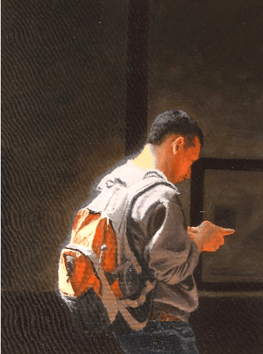 Artwork: Man with Orange Backpack by Elizabeth Ennis