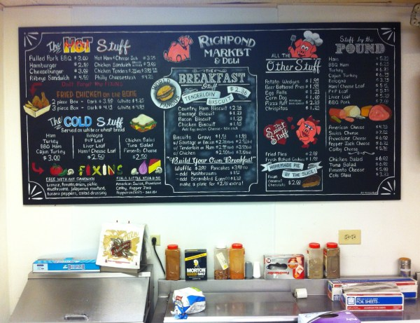 Chalkboard Menu Board Design