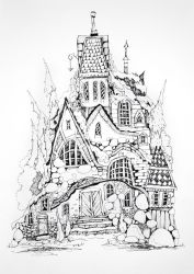 Ink drawing concept art houses Magic village fairy houses fantasy medieval architecture