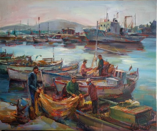 Seascape Oil Painting Boats