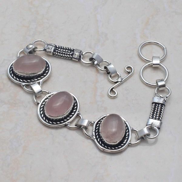 Rose Quartz Silver Bracelet