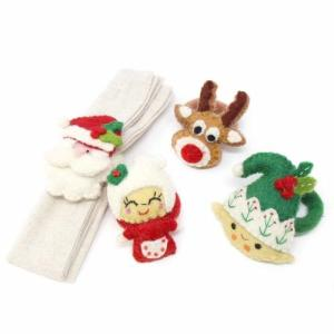 Set of 4 Christmas Felted Napkin Rings