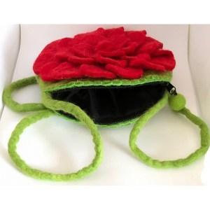 Felted Shoulder Bag – Red Rose