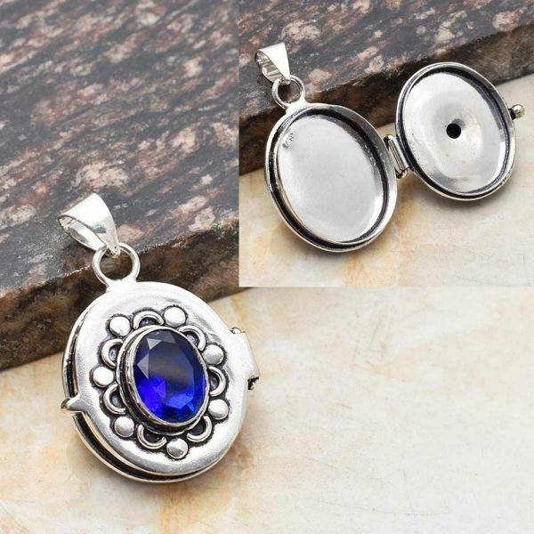 Pendant with Secret Space - Sterling Silver and Blue Topaz