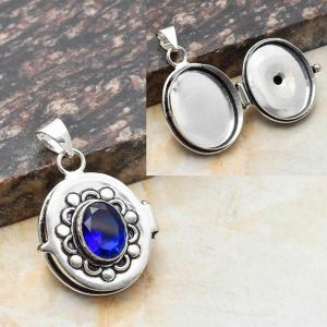 Pendant with Secret Space – Sterling Silver and Blue Topaz