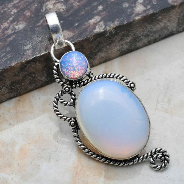 Pendant - Sterling Silver with Opalite and Fire Opal Stones