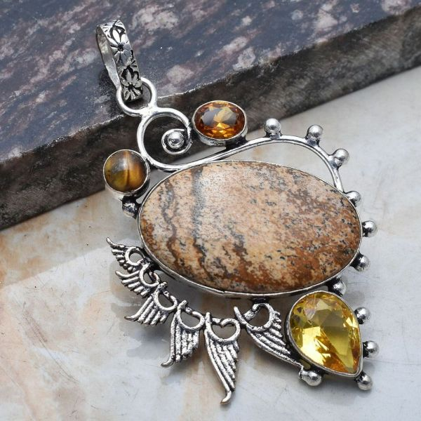Pendant - Sterling Silver with Jasper and Citrine Stones