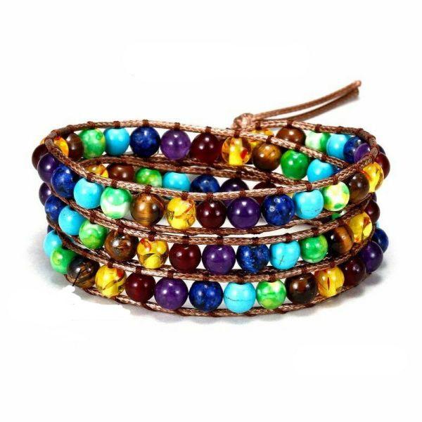 Stone long leather wrap bracelet