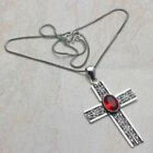 Pendant – Cross with Garnet Stones