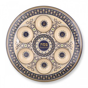 Seder Plate – Blue and Beige Bamboo