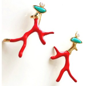 Red Coral Inspired Earrings