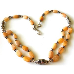 Necklace – Sterling Silver with Carnelian Stones