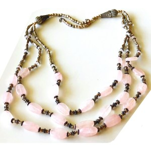 Necklace – Sterling Silver with Rose Quartz