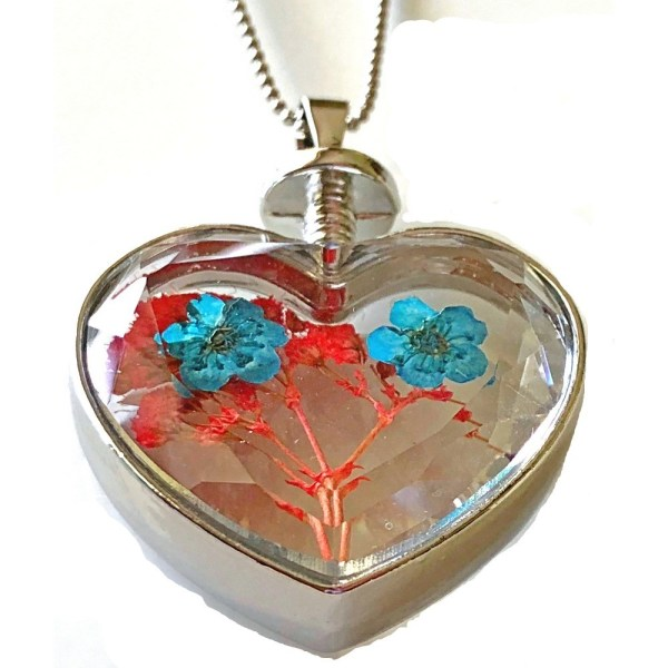 Pendant - Heart-Shaped Glass with Real Flowers