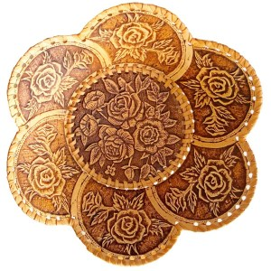 Birch Bark Decorative Plate – Rose