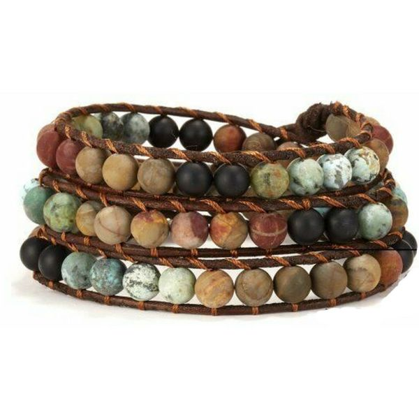 Stone leather – long wrap colorful bracelet
