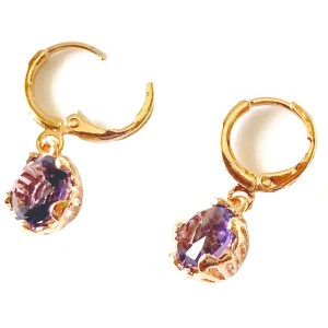 Amethyst Gold Plated Earrings