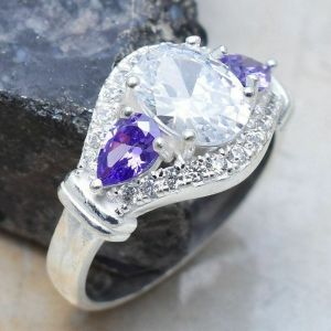 Ring – Sterling Silver with White Topaz and Amethyst