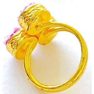 Ring – Gold Plated with Pink Druzy Stones