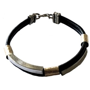 Sterling Silver Gold Leather Bracelet