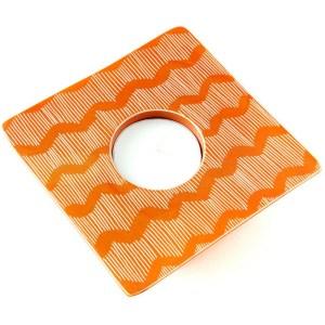 Soapstone Candle Holder – Orange Lines