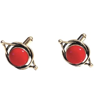 Sterling Silver Cuff links Coral