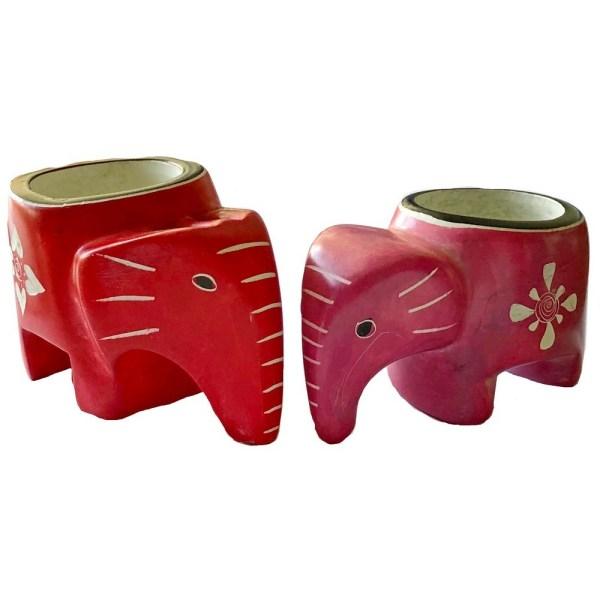 """Soapstone """"Elephant"""" Candle Holder"""