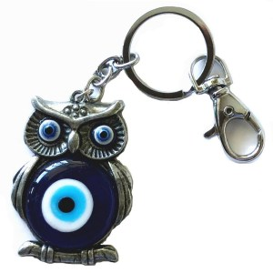 Owl with Blue Evil Eye Amulet Key Chain