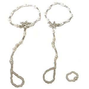 Pair of Pearl Starfish Barefoot Sandals and a Ring