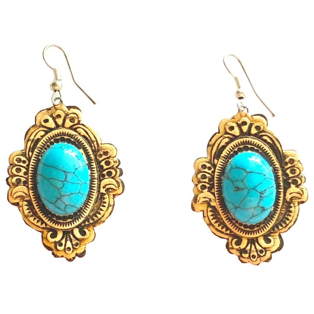 Earrings – Birch Bark with Turquoise