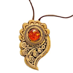 Pendant – Birch Bark with Amber
