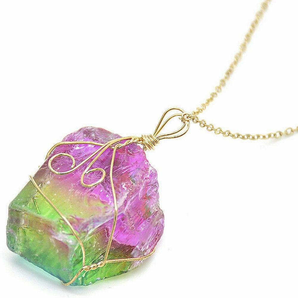 Pendant - Rock Crystal - Multicolored Quartz