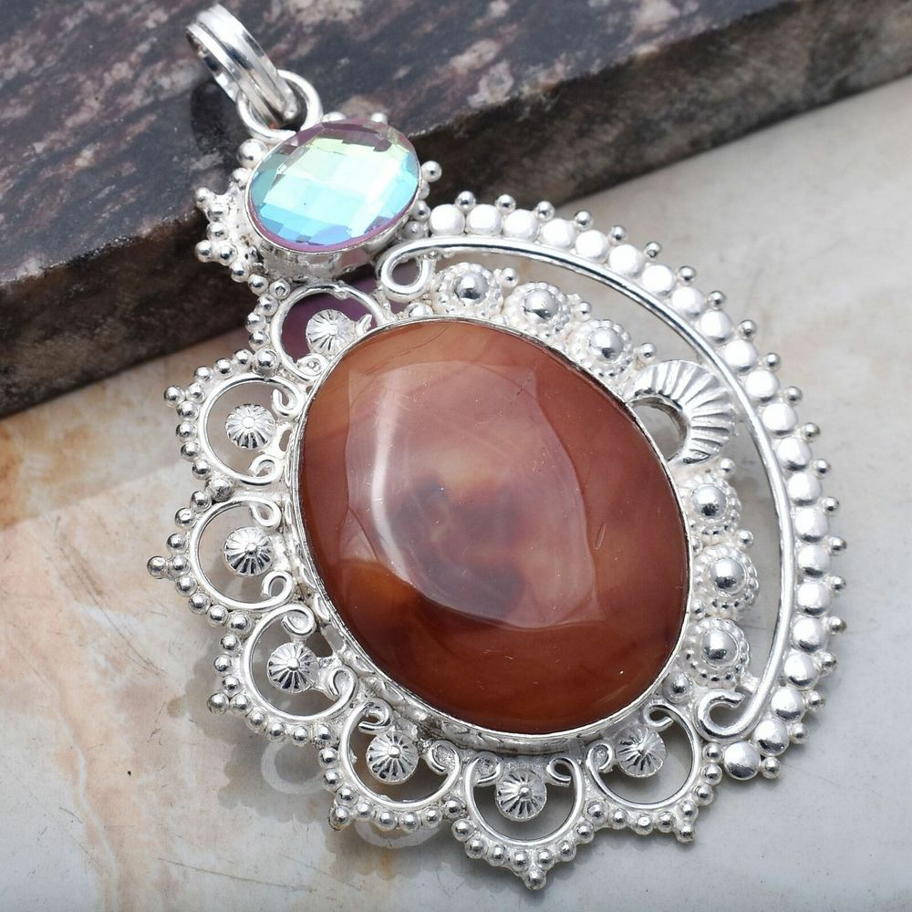 Pendant - Sterling Silver with Botswana Agate and Rainbow Topaz